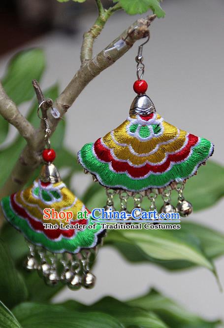 Traditional Chinese Miao Nationality Crafts Jewelry Accessory, Hmong Handmade Embroidery Bells Tassel Earrings, Miao Ethnic Minority Eardrop Accessories Ear Pendant for Women