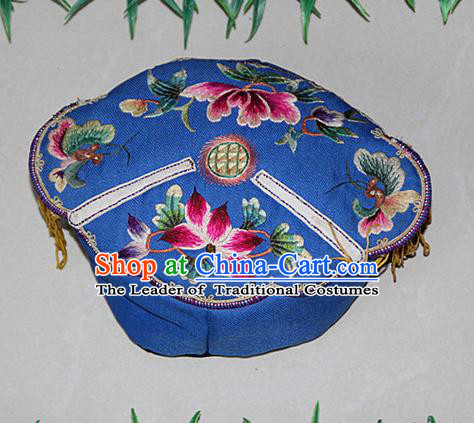 Traditional Chinese Miao Nationality Crafts Hmong Handmade Children Embroidery Lotus Blue Tiger Headwear, Miao Ethnic Minority Exorcise Evil Tiger Hat for Kids