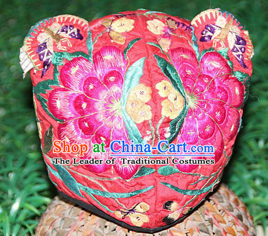 Traditional Chinese Miao Nationality Crafts Hmong Handmade Children Embroidery Flowers Tiger Headwear, Miao Ethnic Minority Exorcise Evil Tiger Hat for Kids