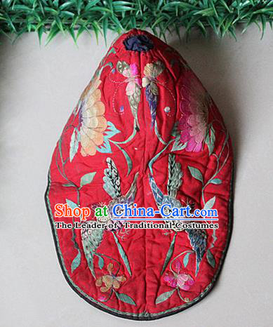 Traditional Chinese Miao Nationality Crafts Hmong Handmade Children Embroidery Flowers Phoenix Tiger Headwear, Miao Ethnic Minority Exorcise Evil Tiger Hat for Kids
