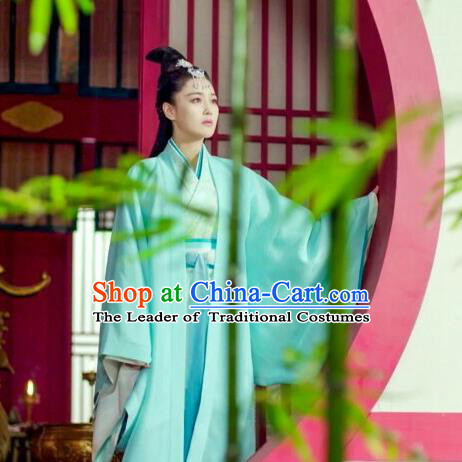 Traditional Ancient Chinese Imperial Consort Costume, Elegant Hanfu Palace Lady Green Dress Clothing, Chinese Warring States Period Princess Swordsman Clothing for Women