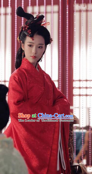 Traditional Ancient Chinese Imperial Consort Costume, Elegant Hanfu Palace Lady Red Dress, Chinese Warring States Period Imperial Concubine Tailing Embroidered Clothing for Women