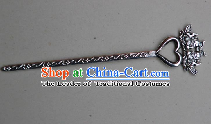 Traditional Chinese Ancient Miao Ethnic Minority Palace Hair Jewelry Accessories, Hmong Handmade Silver Mandarin Duck Hairpins, Miao Ethnic Jewelry Accessories Hair Claw for Women