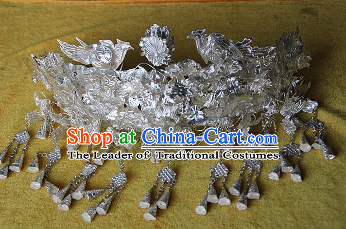 Traditional Chinese Miao Ethnic Minority Headwear Ethnic Miao Silver Peacock Hat