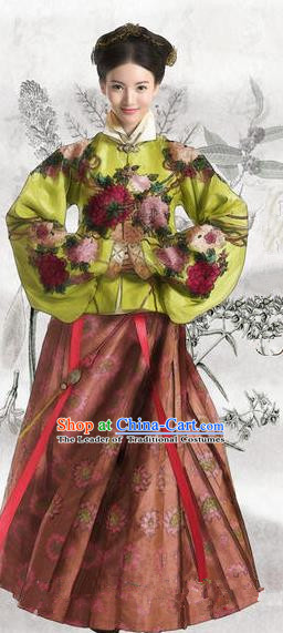Traditional Chinese Ming Dynasty Costume, Chinese Ancient Imperial Empress Embroidery Dress and Accessories Complete Set for Women