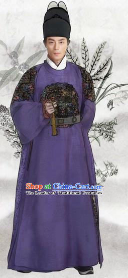 Traditional Chinese Ming Dynasty Costume Imperial Robe, Chinese Ancient Imperial Emperor Embroidery Dress and Hat for Men