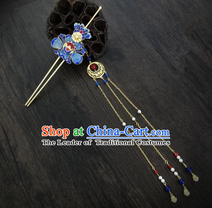 Traditional Handmade Chinese Ancient Classical Hair Accessories Barrettes Hairpin, Imperial Emperess Tassel Headdress Blueing Hair Jewellery, Hair Fascinators Hairpins for Women