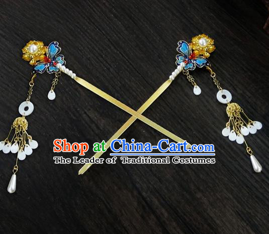 Traditional Handmade Chinese Ancient Classical Hair Accessories Barrettes Butterfly Hairpin, Blueing Hair Sticks Hair Jewellery, Hair Fascinators Hairpins for Women