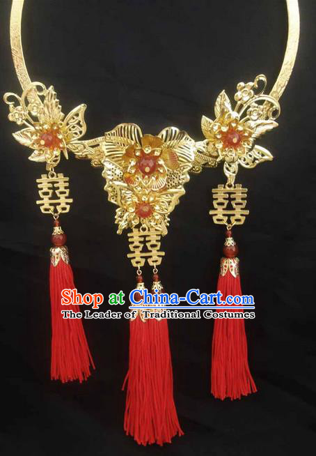 Traditional Handmade Chinese Ancient Classical Jewellery Accessories Necklace, Red Tassel Wedding Necklace for Women