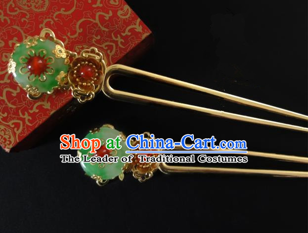 Traditional Handmade Chinese Ancient Classical Hair Accessories Barrettes Agate Jade Hairpin, Hair Sticks Pearl Hair Jewellery, Hair Fascinators Hairpins for Women