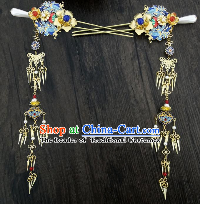 Traditional Handmade Chinese Ancient Classical Hair Accessories Barrettes Hairpin, Blueing Hair Sticks Hair Jewellery, Hair Fascinators Hairpins for Women