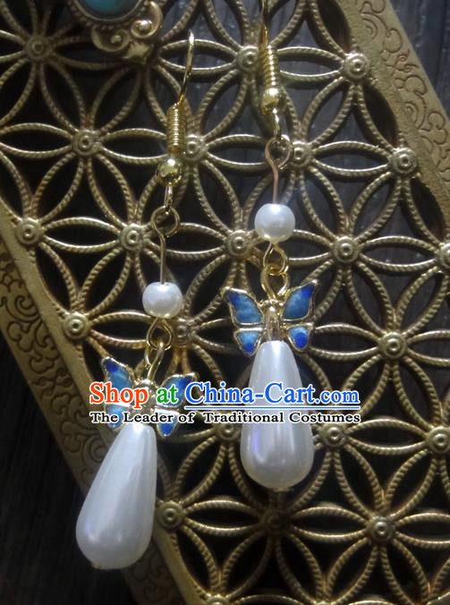 Traditional Handmade Chinese Ancient Classical Blueing Pearl Earrings for Women