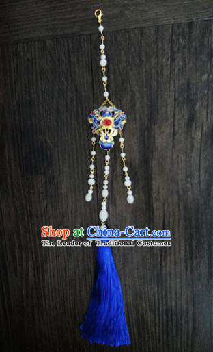 Traditional Handmade Chinese Ancient Classical Jewellery Accessories Palace Tassel Sword Taeniasis, Blueing Waist Pendant for Women