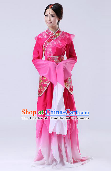 Traditional Ancient Chinese Imperial Emperess Costume, Chinese Lotus Dance Dress, Cosplay Chinese Peri Imperial Princess Water Sleeves Dance Clothing Hanfu for Women