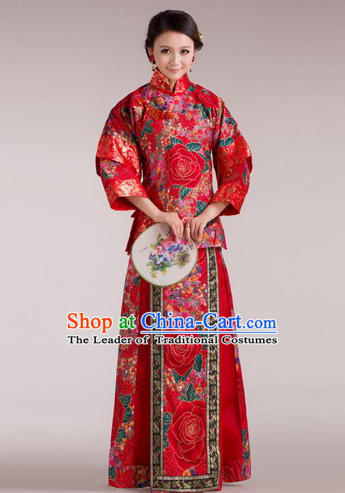 Traditional Ancient Chinese Imperial Emperess Costume Xiuhe Suit, Chinese Qing Dynasty Lady Wedding Dress, Cosplay Chinese Peri Imperial Princess Clothing for Women