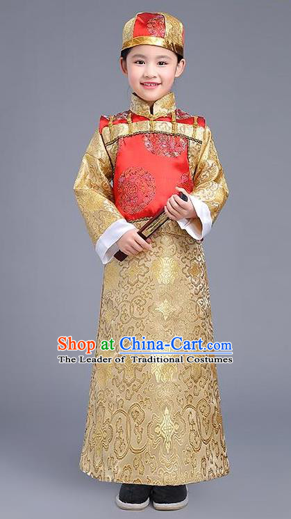 Traditional Ancient Chinese Imperial Emperor Costume, Chinese Qing Dynasty Dress, Cosplay Chinese Imperial Prince Clothing for Kids