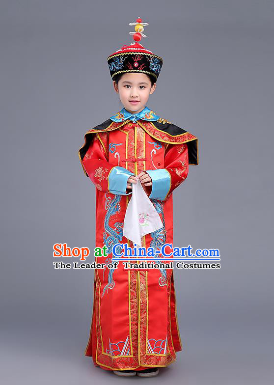 Traditional Ancient Chinese Imperial Empress Costume, Chinese Qing Dynasty Children Dress, Cosplay Chinese Imperial Queen Clothing for Kids