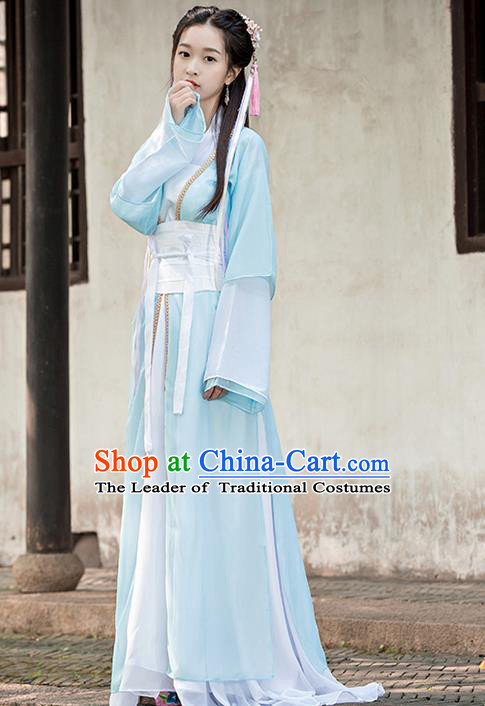 Traditional Ancient Chinese Imperial Princess Costume, Chinese Han Dynasty Dance Dress, Cosplay Chinese Peri Imperial Princess Clothing Embroidered Hanfu Dress for Women