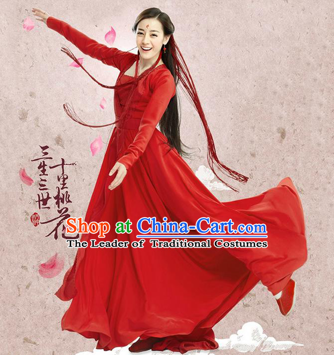Traditional Ancient Chinese Imperial Princess Wedding Costume, Chinese Han Dynasty Princess Red Dress, Cosplay Teleplay Ten great III of peach blossom Role Feng jiu Chinese Peri Embroidered Hanfu Clothing for Women