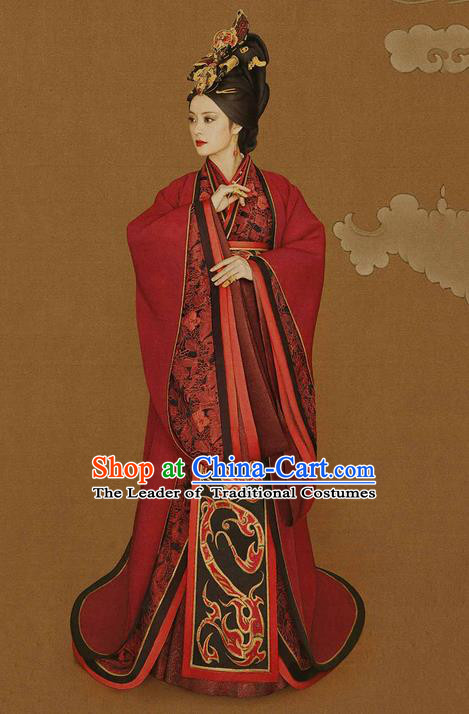 Traditional Ancient Chinese Imperial Emperess Costume Complete Set, Chinese Han Dynasty Emperess Dowager Wedding Dress, Cosplay Chinese Imperial Princess Embroidered Clothing for Women