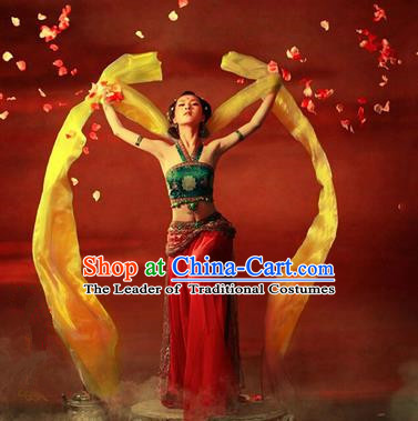 Traditional Ancient Chinese Dunhuang Flying Fairy Costume, Chinese Han Dynasty Dance Ribbon Dress, Cosplay Chinese Peri Imperial Empress Tailing Black Embroidered Clothing for Women