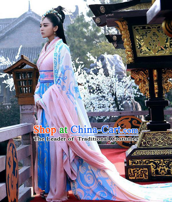 Traditional Ancient Chinese Imperial Emperess Costume, Chinese Han Dynasty Young Lady Dress, Cosplay Chinese Princess Embroidered Clothing Hanfu Costume for Women