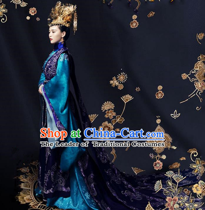 Traditional Ancient Chinese Imperial Emperess Costume, Chinese Han Dynasty Dress, Cosplay Chinese Peri Imperial Empress Dowager Tailing Embroidered Clothing for Women