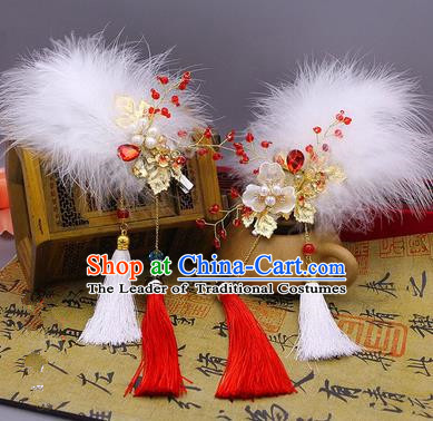 Traditional Handmade Chinese Ancient Classical Hair Accessories Red Feather Tassels Hairpin, Hair Claws Hair Comb for Women