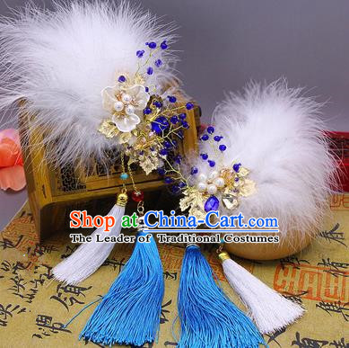 Traditional Handmade Chinese Ancient Classical Hair Accessories Blue Feather Tassels Hairpin, Hair Claws Hair Comb for Women