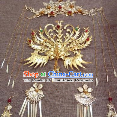 Traditional Handmade Chinese Ancient Classical Imperial Emperess Hair Accessories Phoenix Coronet, Bride Wedding Hairpin, Hanfu Hairpin Complete Set for Women