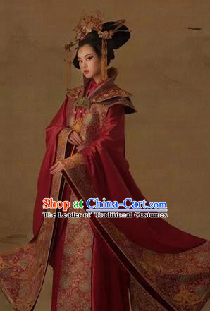 Traditional Ancient Chinese Imperial Emperess Costume Complete Set, Chinese Tang Dynasty Emperess Wedding Dress, Cosplay Chinese Imperial Princess Embroidered Clothing for Women