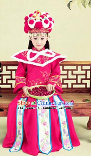 Traditional Ancient Chinese Imperial Princess Costume, Chinese Qing Dynasty Manchu Children Dress, Cosplay Chinese Manchu Minority Imperial Princess Clothing for Kids