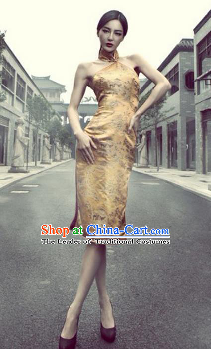 Traditional Ancient Chinese Young Women Cheongsam Dress, Republic of China Tangsuit Silk Cheongsam for Women