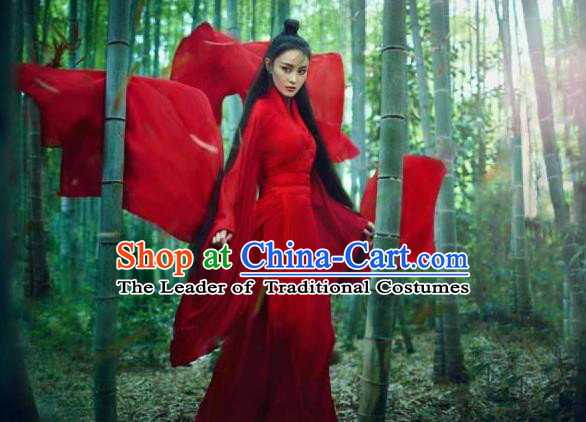 Traditional Ancient Chinese Female Costume, Chinese Tang Dynasty Swordswoman Red Dress, Cosplay Chinese Chivalrous Swordsman Clothing for Women