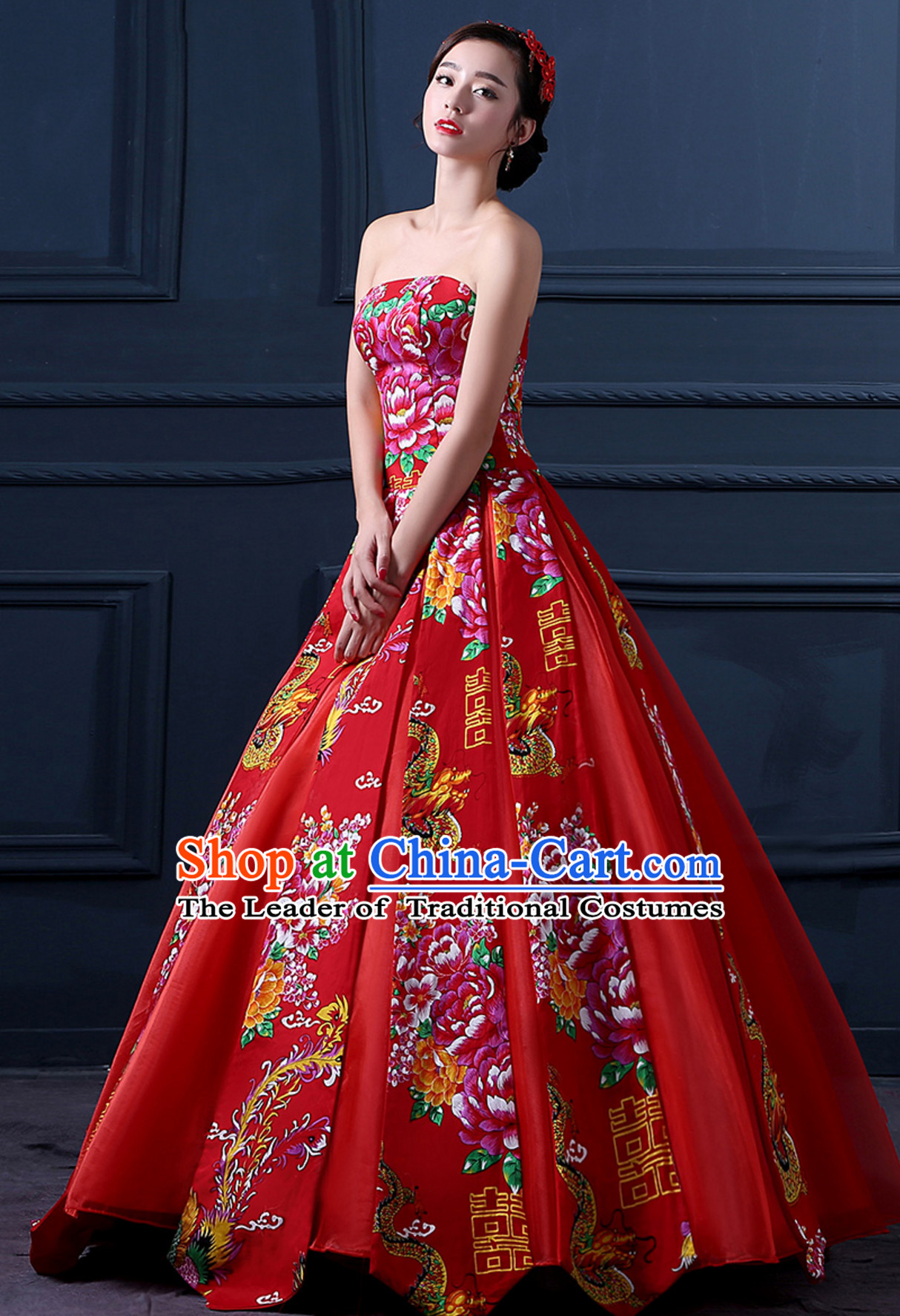 Supreme Chinese Stunning Made to Order Lucky Red Long Wedding Evening Dress