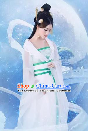 Traditional Ancient Chinese Imperial Princess Costume and Hair Accessories Complete Set, Chinese Han Dynasty Young Lady Dress, Cosplay Chinese Imperial Princess Embroidered Clothing Hanfu for Women