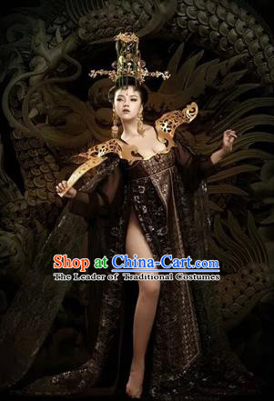 Traditional Ancient Chinese Imperial Emperess Costume and Armour, Chinese Tang Dynasty Sexy Kimono Dress, Cosplay Chinese Imperial Consort Clothing for Women