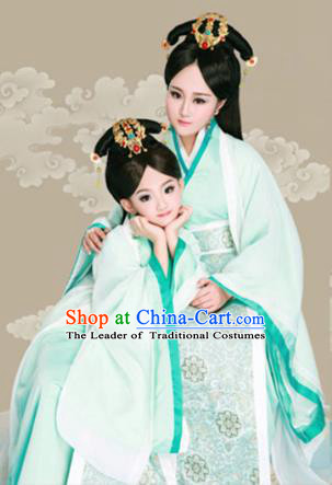 Traditional Ancient Chinese Mother and Daughter Outfit Costume Complete Set, Chinese Tang Dynasty Parent-Child Woman Dress, Cosplay Chinese Family Portrait Clothing Hanfu for Women for Children