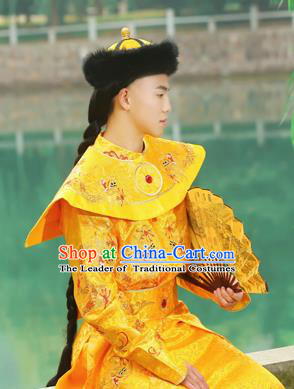 Traditional Ancient Chinese Qing Dynasty Imperial Majesty Robes, Qing Dynasty Manchu Imperial Emperor Dragon Yellow Costumes for Men