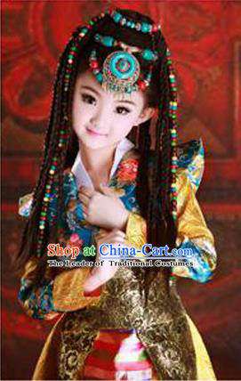 Traditional Chinese Zang Nationality Dancing Costume, Tibetan Children Folk Dance Skirt, Chinese Tibetan Minority Nationality Costume for Kids
