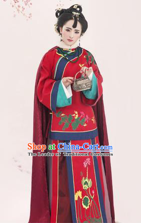 Traditional Ancient Chinese Imperial Emperess Costume, Chinese Qing Dynasty Manchu Lady Dress, Cosplay Republic of China Manchu Minority Princess Embroidered Clothing for Women