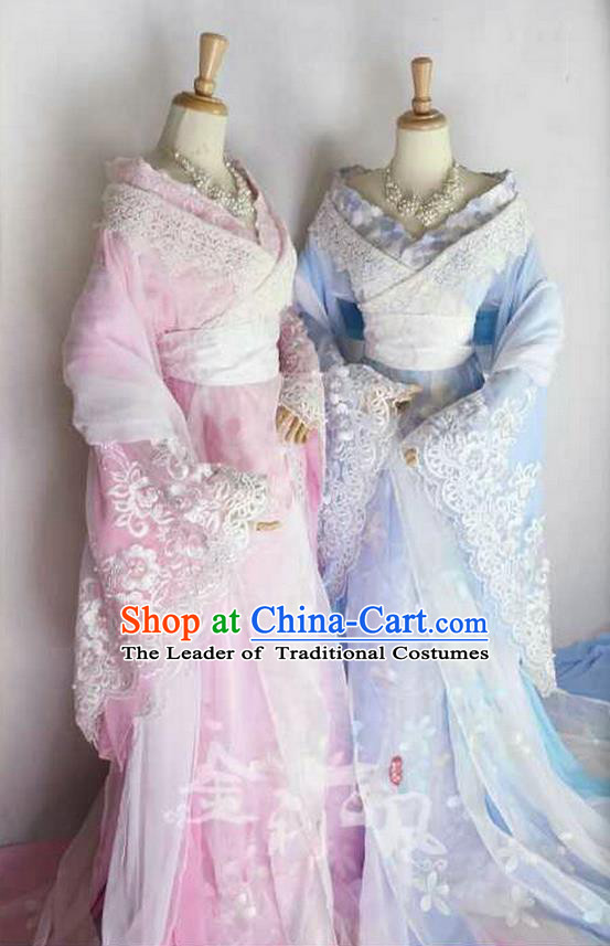 Traditional Ancient Chinese Imperial Emperess Costume, Chinese Tang Dynasty Young Lady Dress, Cosplay Chinese Peri Princess Embroidered Hanfu Clothing for Women