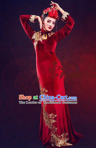 Traditional Ancient Chinese Costume, Chinese Qing Dynasty Cheongsam Dress, Cosplay Chinese Peri Imperial Empress Cheongsam Clothing for Pregnant Women