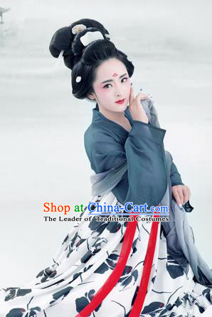 Traditional Ancient Chinese Imperial Emperess Costume, Chinese Tang Dynasty Palace Lady Dress, Cosplay Chinese Imperial Princess Ink Clothing Hanfu for Women