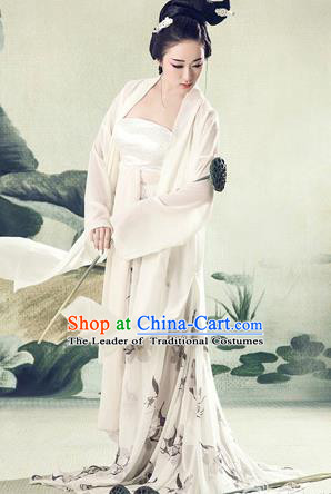 Traditional Ancient Chinese Imperial Emperess Costume, Chinese Tang Dynasty Dance Dress, Chinese Peri Imperial Princess Ink Painting Lotus Hanfu Clothing for Women