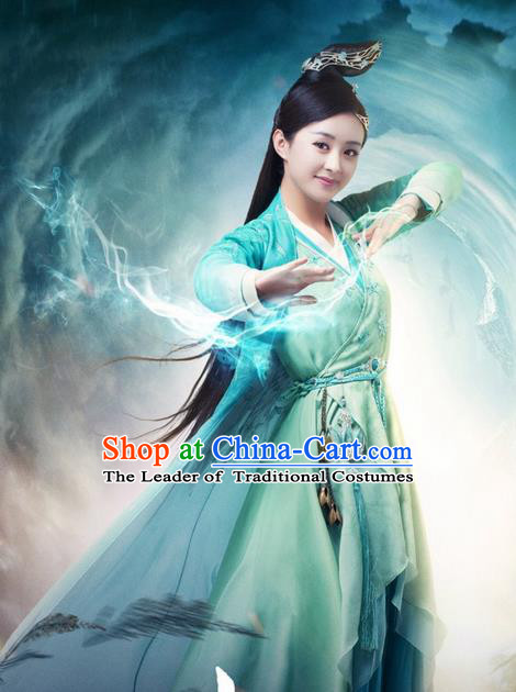 Traditional Ancient Chinese Swordswoman Costume, Chinese Han Dynasty Fairy Dress, Cosplay Game Character Chinese Peri Princess Green Clothing for Women
