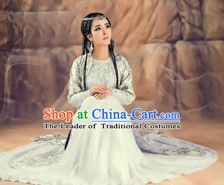 Traditional Ancient Chinese Imperial Princess Costume, Chinese Magic Dance Dress, Chinese Peri Magic Princess Hanfu Embroidered Clothing for Women