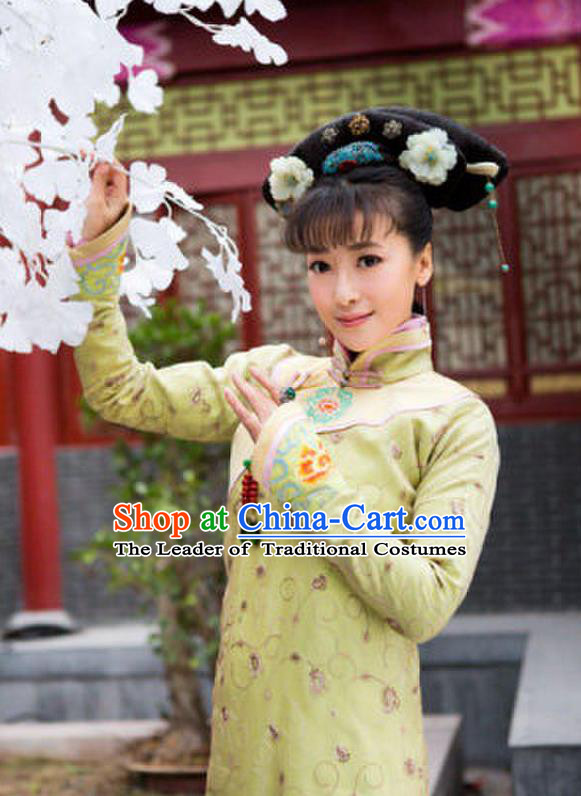 Traditional Ancient Chinese Imperial Emperess Costume, Chinese Qing Dynasty Young Lady Dress, Chinese Manchu Princess Green Clothing for Women
