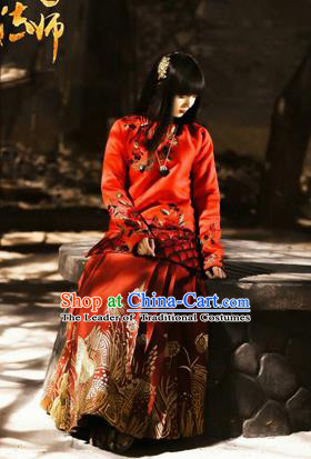 Traditional Ancient Chinese Costume Xiuhe Suit, Chinese Late Qing Dynasty Female Wedding Red Dress, Republic of China Embroidered Clothing for Women