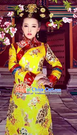 Traditional Ancient Chinese Imperial Consort Costume, Chinese Qing Dynasty Manchu Lady Dress, Cosplay Chinese Mandchous Imperial Concubine Clothing for Women